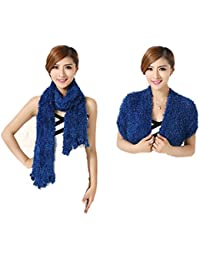 Buy My Shope Women's Faux Fur Scarf (MS002_Blue_Free Size)