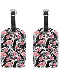 COOSUN Flamingo Hibiscus Perroquets Plantes Tropicales Etiquettes de Bagages Voyage Labels Nom Tag Titulaire de la Carte pour Les Bagages Valise Sacs à Dos Sac, 2 PCS Moyen Multicolore