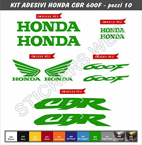 Honda CBR 600F Code 0123 Stickers Kit - 10Items–Colour of Choice - For Motorbike, Verde Lime cod. 064