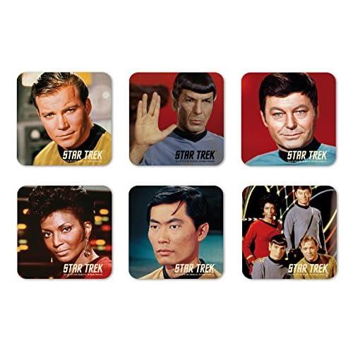Logoshirt TV - Serie - Star Trek - La tripulación del USS Enterprise - Juego de Posavasos de Nevera - Juego de 6 Coaster… 1