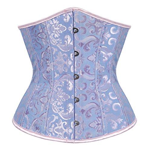 Damen Korsage Unterbrustkorsett Satin Bauchweg Corsage Waist Cincher Top Tailenmieder Dessous Blau (XL)