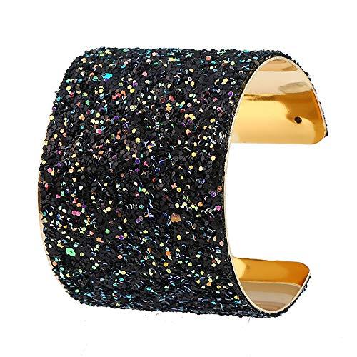 Oipoodde Damen Armband Frauen Multicolor Cut Kristall Crushed Stein Hochzeit Braut Multi Silber Überzogenes Armband Für Damen Teen Mädchen Schmuck Geschenke (Farbe : Schwarz) -