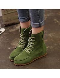 Zapatos de mujer ante sintético tacón cuña botas/comodidad botas Casual negro/verde/rojo/caqui, caqui, us6.57 / eu37 / uk4.55 / cn37