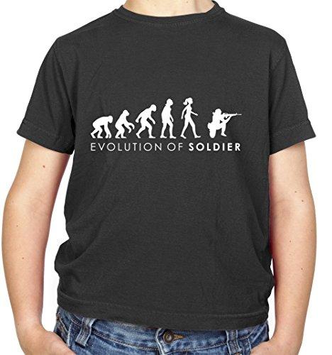 Evolution of Woman - Soldatin - Kinder T-Shirt - Schwarz - M (7-8 Jahre) (Militär-kleinkind-t-shirt)