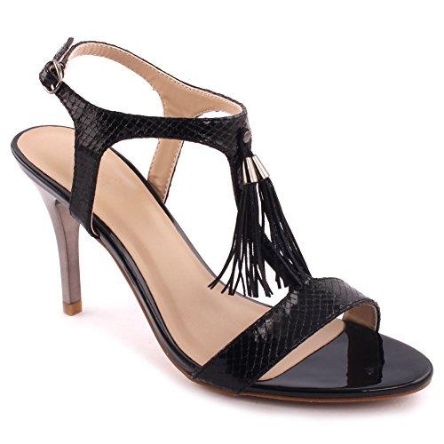Unze Donne 'Sofia' nappa Particolare Low Mid High Heel promenade del partito di Get Together Brunch Carnevale sandali da sera di cerimonia pattini dei talloni Uk Size 3-8 Nero