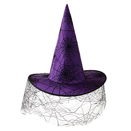 MagiDeal Lila Spinnennetz Hexenhut Zauberer Hut Halloween Kostüm für Kinder Erwachsene (Halloween Hüte Für Kinder)