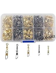 JSHANMEI ® 180pcs/boîte Taille 2,4,6,8,10 Emerillon à Barrel Rolling Swivel Interlock Snap