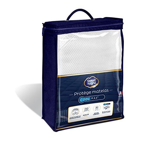 Sweetnight - Protège matelas 160x200 cm | Alèse Tissu Coolmax® | Anti Transpiration| Respirant | Compatible Grands Bonnets | Qualité Hôtellerie de Luxe