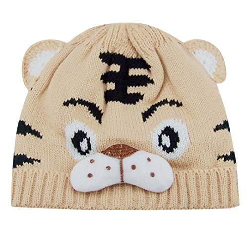 Rosennie_Baby Baby Jungen Mädchen Tiger Cartoon Warme Winter Hüte Niedlich Ohren Plüsch Strickj Hut Cap Deckel Neugeborene Gestrickte Wolle Säumen Hüte Mode Kostüm Hüte Wintermütze (Beige)