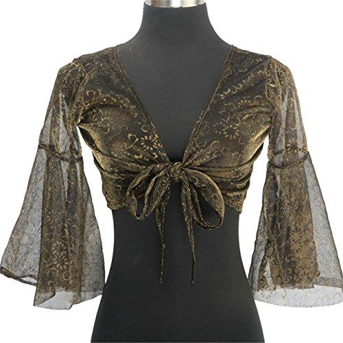 Tanzkleidung Bauchtanz -Kost¨¹m Butterfly Sleeves Bandage Top+Tribal Flash Silver Cloth Pants black (Dance Kostüme Flash)