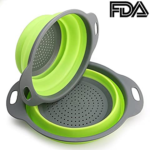 2PCS Colander Strainer Collapsible Silicone Filter Fruit Basket by CHAGNKU, FDA Approved for Home Kitchen Sets (Green)