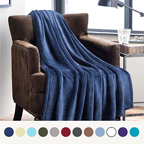 Weiche Kuscheldecke für Kinder Blau Navy - hochwertige flauschige Microfaser Fleecedecke für Sofa & Couch 130x150cm - warme Wohndecke/Sofadecke/Reisedecke von Bedsure (Blaue Couch)