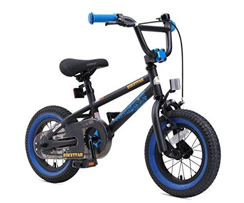 BIKESTAR Bicicletta Bambini 3-4 Anni da 12 Pollici ★ Bici per Bambino et Bambina BMX con Freno a retropedale et Freno a Mano ★ Nero & Blu - 2