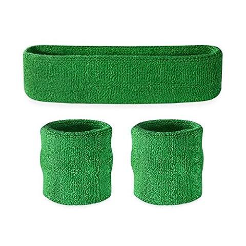 Suddora Kids Sweatband Set (1 Headband / 2 Wristbands) - Green - Spandex Uniform