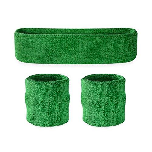 Suddora Schweißband-Set für Kinder, 1Stirnband und 2Armbänder, grün