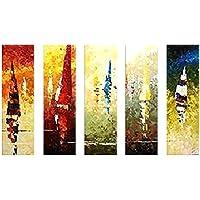 LDFN - Murales Pintados a Mano para decoración de salón, sin Marco, 5 Ornamentos para Colgar Pinturas, 1 Grupo 5, A, 20 * 50cm*5