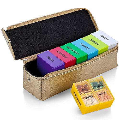Große Wochen-Pillenbox in Gold Ledertasche - 7 Tage Woche Pillenplaner Organizer & Medikamenten-Erinnerung mit 4 Mal am Tag - Tagesfächern, ideal für unterwegs, von MEDca