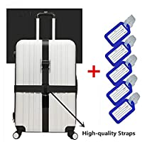 JYHYEU Long Cross Luggage Straps Suitcase Belts & Luggage Tags,Black(1*Straps& 5*Tags)