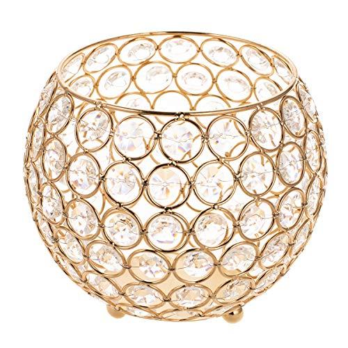 ManChDa Gold Crystal Votive Kerzenhalter/Kamin Kandelaber für Couchtisch Mittelstücke Jubiläumsfeier, Moderne Home Decor Hochzeit Crystal Votive