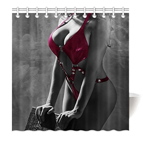 YISUMEI Hem Gewichte Vorhang Duschvorhang 180x200 cm Sexy Frau Spaß Rot