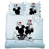 Mickey Minnie The End Bettwäsche - Bettbezug 200 x 200 - Kopfkissenbezug 63 x 63 cm (2 St.) - Baumwolle