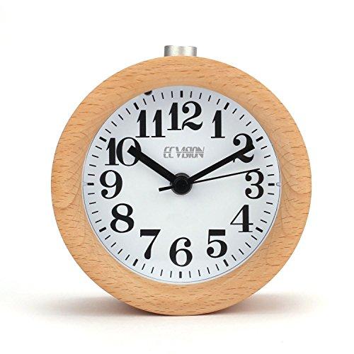 Ecvision - sveglia da comodino, classica e rotonda, in legno di faggio, silenziosa, 90*90*50 mm, light wooden design