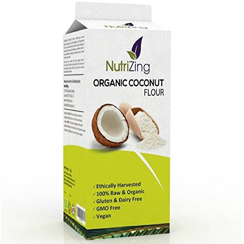 NutriZing Farine de Noix de Coco Biologique ~ Sachet de 1 kg ~ Emballage fraîcheur refermable ~ 100% cru et naturel sans additif ~ Végétalien et végétarien ~ Label Soil Association