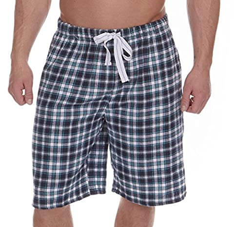 MENS LOUNGE SHORTS FLANNEL BRUSHED COTTON CHECKED LOUNGE WEAR PYJAMA SHORTS