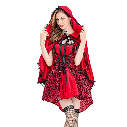 AMUSTER Damen Cosplay Kostüm Halloween Kostüm Mantel Kleid Frauen Red Halloween Cosplay Kostüm Make-up Party Kleid Mantel