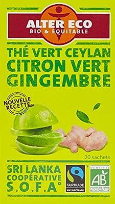 Alter Eco Thé Vert Citron Vert Gingembre Bio et Équitable 20 Infusettes