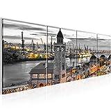 Bilder Stadt Hamburg Wandbild 160 x 50 cm Vlies - Leinwand Bild XXL Format Wandbilder Wohnzimmer Wohnung Deko Kunstdrucke Grün 4 Teilig - MADE IN GERMANY - Fertig zum Aufhängen 603046b