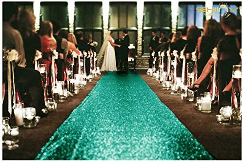 ShinyBeauty Grün Pailletten Aisle Runner für die Braut 125x1200cm Grün Teppich Läufer Bodenschiene für Party Glitter Gang Läufer für Partei,4FTx40FT