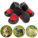 Petilleur Botas para Perros Respirable Zapatos para Perros Antideslizante para Actividades Al Aire Libre (90, Rojo)