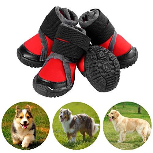Petilleur Scarpe Cani Traspirante Stivali per Cani Antiscivolo per attività all'Aperto (80, Rosso)