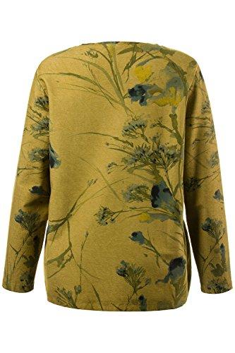 Ulla Popken Sweatshirt Mit Floraldruck, Sweat-Shirt Femme jaune kaki