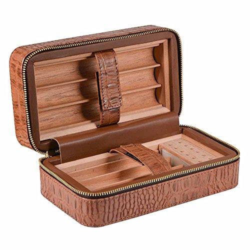 NACHEN Zigarren Humidore Ledertasche Portable Holz Reise Leder Zigarre Box Hält 6 Zigarren,Brown,18.6 * 10 * 8Cm (10 Humidor)