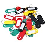 12PCS Plastic Key ID Label Tags Split Ring Keyring in Red,Blue,Green and Yellow