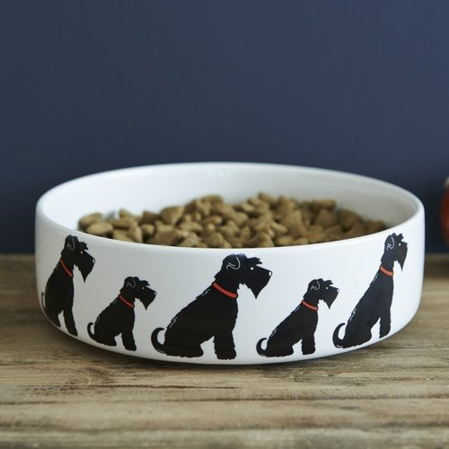 Black Schnauzer small dog bowl (large also available)