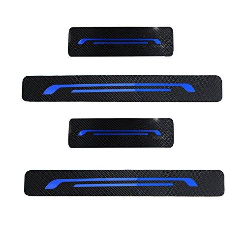 Einstiegsleisten (Set!) Schutzfolie Kohlefaser mit hellen Aufklebern Blau Für Focus 2010-2018 -