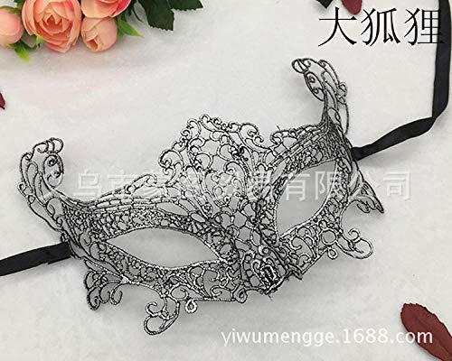 MIANJUMJ Halloween Maske Für Frauen, Sexy Prom Lace Heiß Silver Fox Eye Mask Für Hochzeit Party Abend Masquerade Dekoration Halbe (Silver Fox Kostüm)