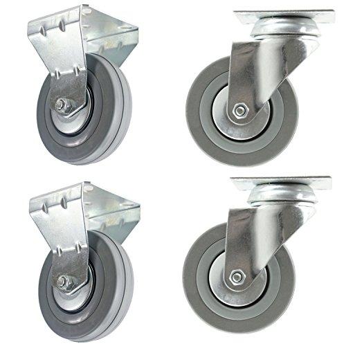 spares2go 100mm schwenkbar//NUR Bremse/Feste Platte Lenkrolle Möbel Bett Couchtisch Schubladen Lenkrollen (4Stück) 2 x Swivel Only & 2 x Fixed Plate (Werkzeugkästen Auf Rädern)