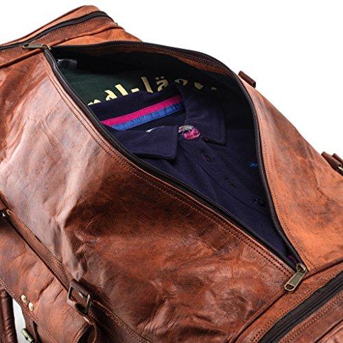 Herren-Tasche braun | Duffle-Bag aus Leder mit viel Platz (Kurzurlaub) Weekender Leder | Große Fitnesstasche (schwarz) vintage