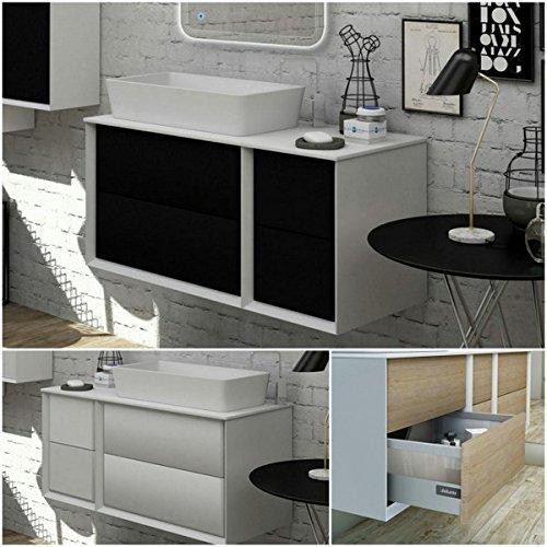 Mobile arredo bagno moderno bellagio 105x46 lavabo d'appoggio bianco sospeso arredi
