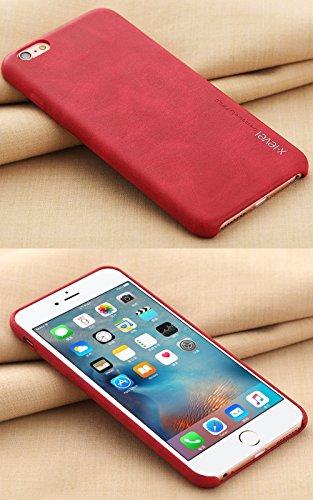 """MOONCASE iPhone 6 Plus / 6S Plus Hülle, Jahrgang Prämie PU Leder Hart PC Handy Schutz Tasche Schutzhülle Case für iPhone 6 Plus / 6S Plus (5.5"""") Rot Rot"""
