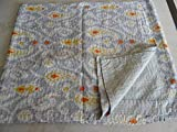 Tribal Asian Textiles Multicolor Paisley IKAT Print King Size Kantha Quilt , Kantha Blanket, Bed Cover, King Kantha bedspread, Bohemian Bedding Kantha Size 90 Inch x 108 Inch 002