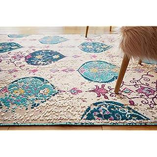 Well Woven Sera Multi Blue & Pink Oversized Panel Design Short Pile Kilim-Style Modern 5x8 (5'3