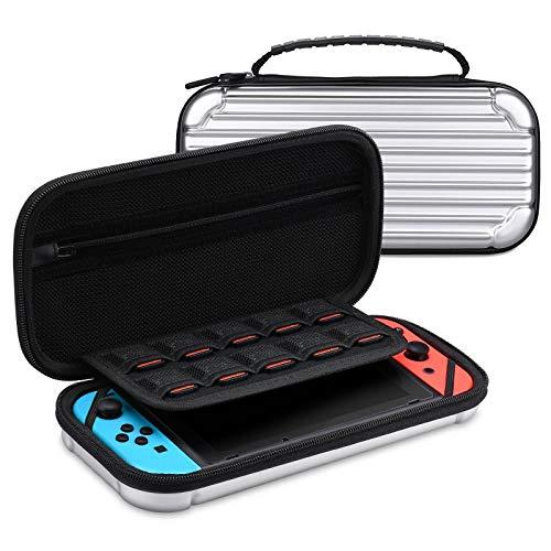 Tendak Hülle Tasche für Nintendo Switch - Hartschale Tragetasche Aufbewahrungstasche Schutzhülle für Nintendo Switch Konsole Joy-Con Zubehör mit 10 kartenpatronen Glas Bildschirmschutz