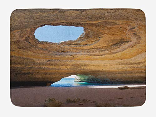 Rocky Eliminator (LLiopn Cave Bath Mat, Sea Cave of Benagil in Algarve Portugal Idyllic Sandy Rocky Landscape, Plush Bathroom Decor Mat with Non Slip Backing,Sand Brown Pale Blue Umber 15.7x23.6 inch)