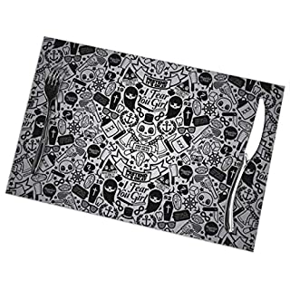 Aeykis Placemats,Heat-Resistant Washable Cotton Sugar Skull Wallpaper Placemats,Polyester Linen Dining Table Mats for Kitchen,Set of 6