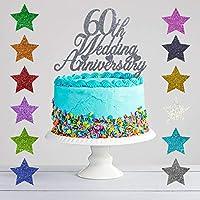 60th Wedding Anniversary Glitter Cake Topper, Diamond Wedding Anniversary